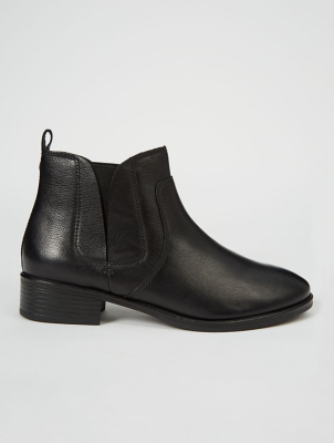 Black Leather Elasticated Panel Chelsea Boots