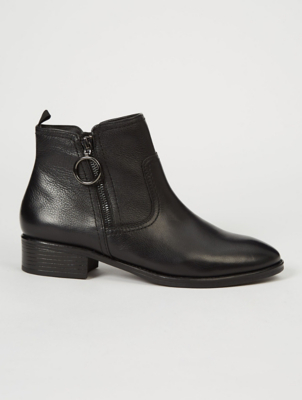 Black Leather Ring Zip Chelsea Boots