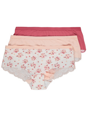 Pastel and Floral Print Short Knickers 3 Pack