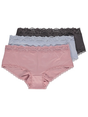 Pastel Lace Trim Short Knickers 3 Pack