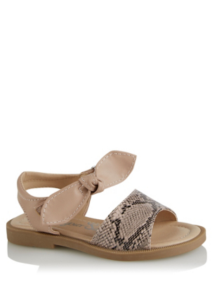Snakeskin Effect Bow Strap Sandals