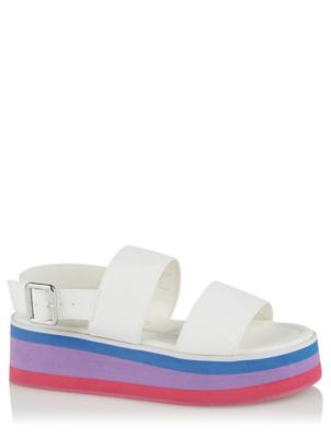 White 2 Strap Wedge Sandals