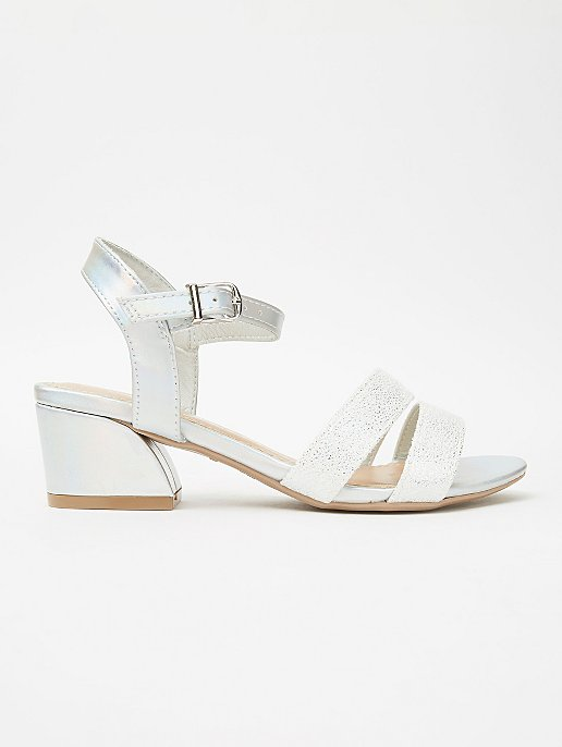 60a165c2dc Silver Shimmer 2 Strap Heeled Sandals | Kids | George