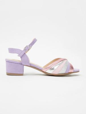 Purple Metallic And Glitter Mid Heel Shoes