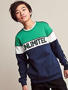 6e3a8c5c Green Stripe Unlimited Slogan Tape Sweatshirt