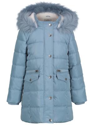 Blue Faux Fur Shower Resistant Padded Coat