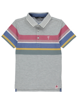 Rainbow Striped Short Sleeve Polo Shirt