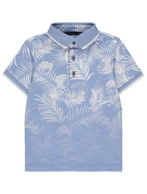 Blue Palm Fadeout Print Short Sleeve Polo Shirt
