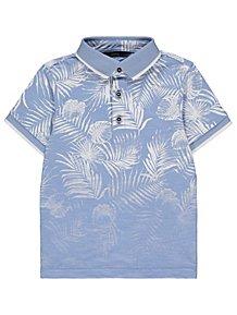 822631e96 Blue Palm Fadeout Print Short Sleeve Polo Shirt