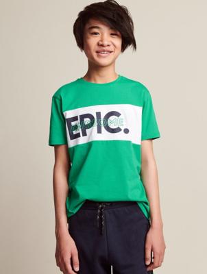 Green Stripe Slogan T-Shirts 3 Pack