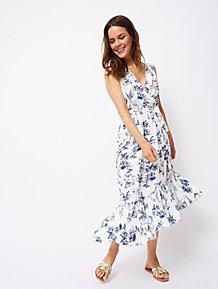f2c9f72ce9 White Tropical Scene Printed Dress