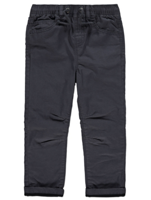 Grey Elasticated Waistband Lined Trousers