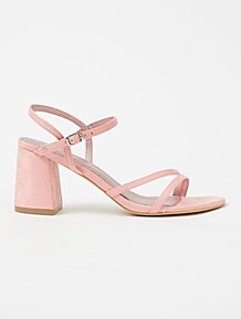 569a659f2e797 Pink Suede Effect Block Heel Sandals