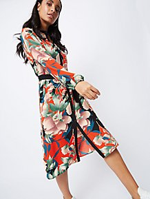 ded24b966a Orange Floral Print Shirt Dress