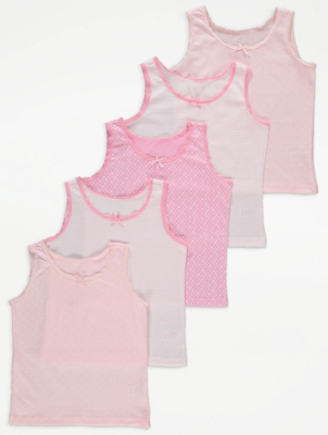 Pink Star Print Vests Tops 5 Pack