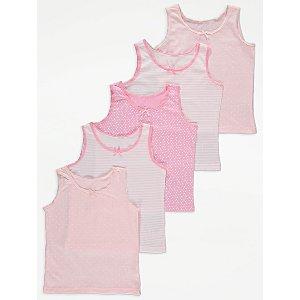 Pink Star Print Vests Tops 5 Pack