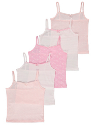Pink Star Print Cami Vests 5 Pack