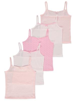 Pink Star Print Cami Vests 5 Pack