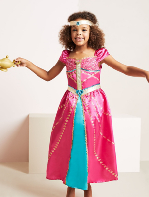Disney Princess Jasmine Pink Ballgown Fancy Dress Costume