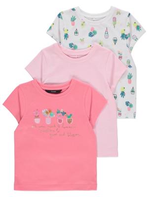 Floral Appliqué T-Shirts 3 Pack