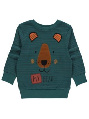 Teal Bear Print Sweatshirt