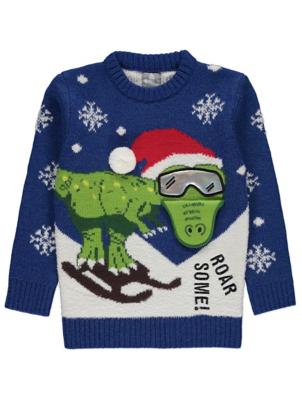 Blue Skiing Dinosaur Christmas Jumper