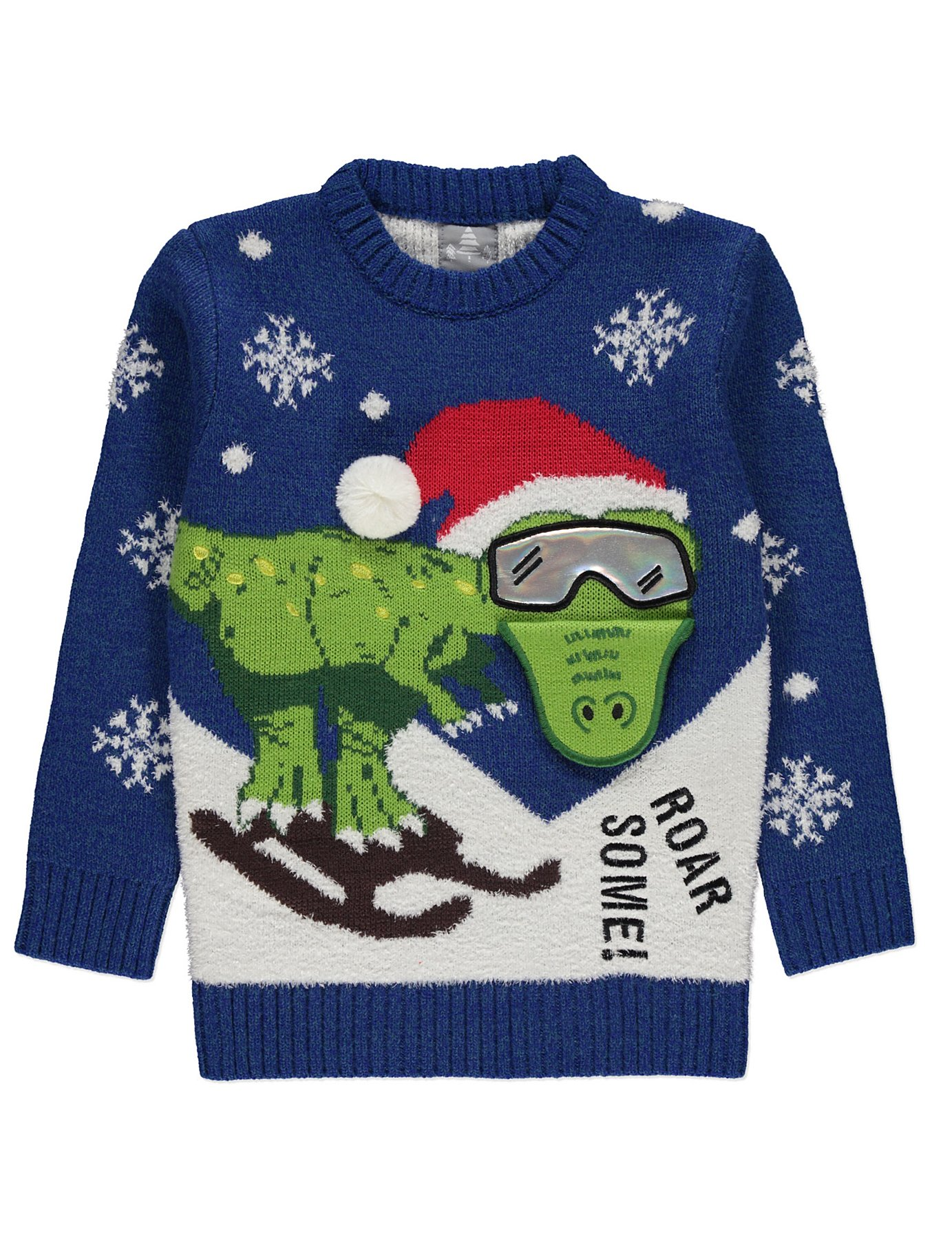 Christmas Jumpers.Blue Skiing Dinosaur Christmas Jumper