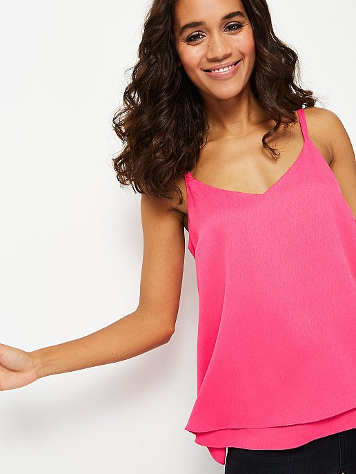 brand new release date: wide range Neon Pink Textured Double Layer Camisole Top | Women | George