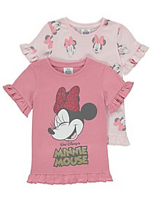 cadeb01240 Disney Minnie Mouse Pink Short Sleeve Tops 2 Pack