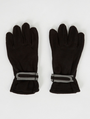 Black Fleece Reflective Trim Gloves