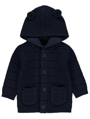 Navy Hooded Chunky Knit Cardigan