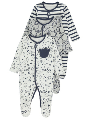 Grey Elephant Print Sleepsuits 3 Pack