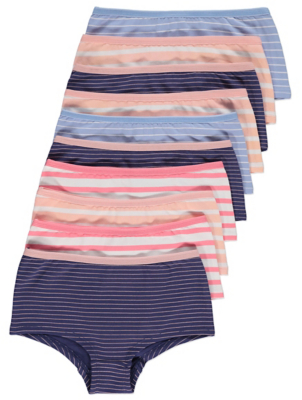 Blue and Coral Striped Short Knickers 10 Pack