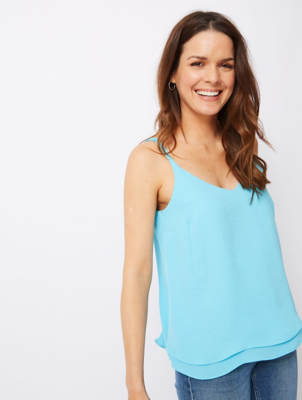 Turquoise Double Layer Camisole Top