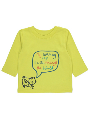 Yellow Lion Slogan Long Sleeve Top