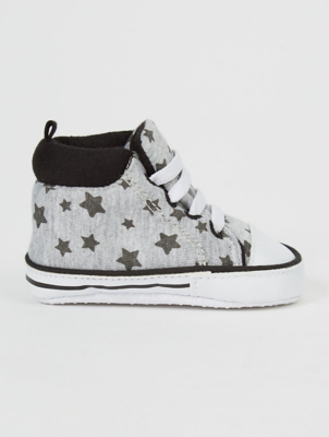 Grey Star Print Pop On Shoes