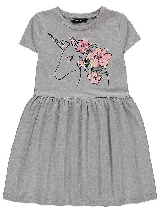 6ae0c8ada9f4 Grey Unicorn Print Dress | Kids | George