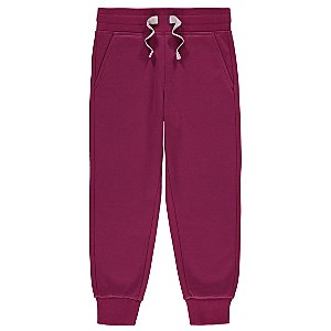 Purple Fleece Lined Ribbed Cuff Joggers