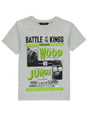 Grey Marl Gorilla Boxing Poster T-Shirt