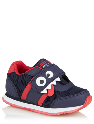 First Walkers Navy and Red Monster 1 Strap Trainers