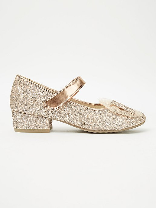 great prices 100% high quality good selling Rose Gold Glitter Bow Mid Heel Shoes   Kids   George