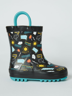 First Walkers Navy Weather Print Wellington Boots