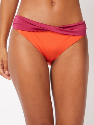 Orange Twisted Waist High Leg Bikini Bottoms