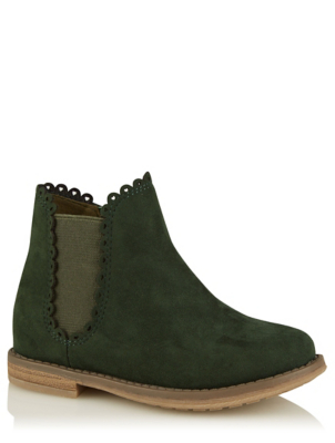Dark Green Suede Style Scalloped Chelsea Boots