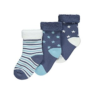 Blue Terry Patterned Socks 3 Pack