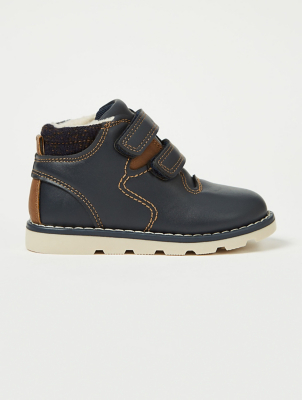 First Walkers Navy 2 Strap Fleecy Boots
