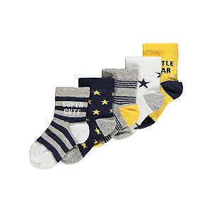 Striped Slogan Ankle Socks 5 Pack