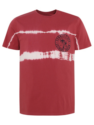 Red Tie Dye Emblem Pocket T-Shirt