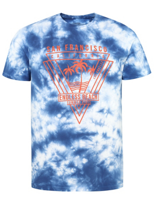 Navy Acid Wash San Francisco Print T-Shirt