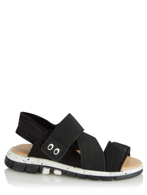 Black Elastic Strap Sandals